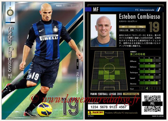 Panini Football League 2013 - PFL03 - N° 022 - Esteban Cambiasso (Inter Milan)