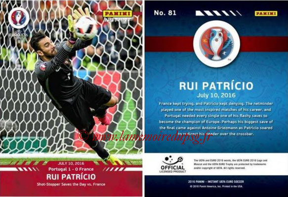 Panini Instant Euro 2016 - N° 081 - Rui PATRICIO