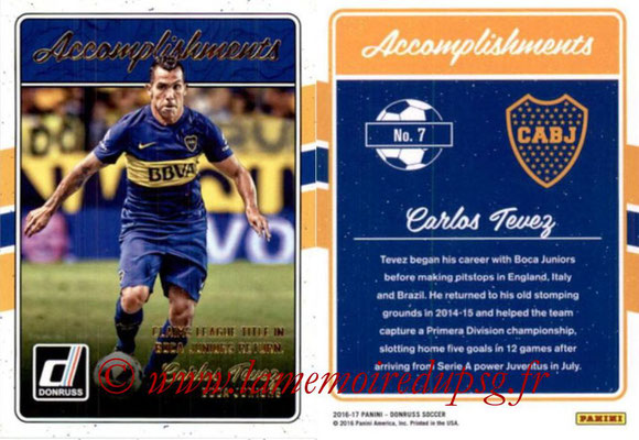 2016 - Panini Donruss Cards - N° A07 - Carlos TEVEZ (Boca Juniors) (Accomplishments)