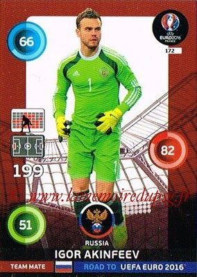 Panini Road to Euro 2016 Cards - N° 172 - Igor AKINFEEV (Russie)