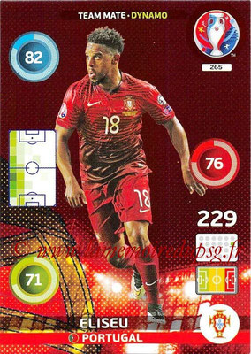 Panini Euro 2016 Cards - N° 265 - ELISEU (Portugal) (Dynamo)
