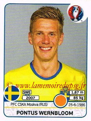 Panini Euro 2016 Stickers - N° 564 - Pontus WERNBLOOM (Suède)