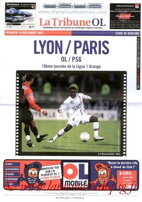 Programme  Lyon-PSG  2003-04