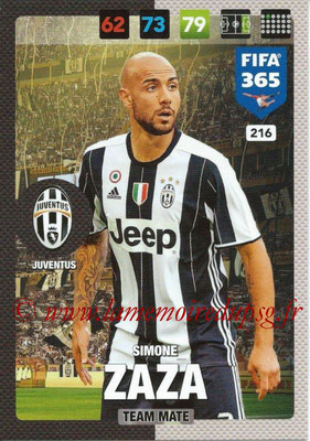 2016-17 - Panini Adrenalyn XL FIFA 365 - N° 216 - Simone ZAZA (Juventus FC)