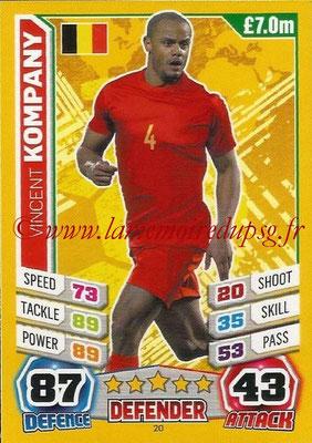 Topps Match Attax England 2014 - N° 020 - Vincent KOMPANY (Belgique)