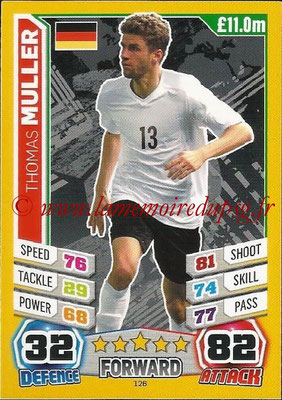 Topps Match Attax England 2014 - N° 126 - Thomas MULLER (Allemagne)