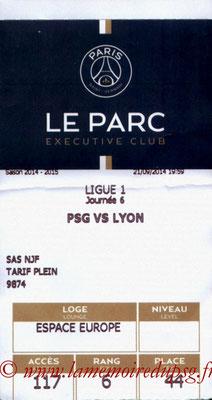 Tickets  PSG-Lyon  2014-15
