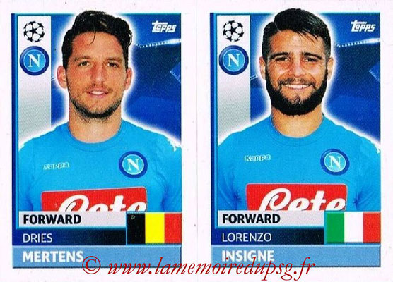 2016-17 - Topps UEFA Champions League Stickers - N° NAP 16-17 - Lorenzo INSIGNE + Dries MERTENS (SSC Naples)