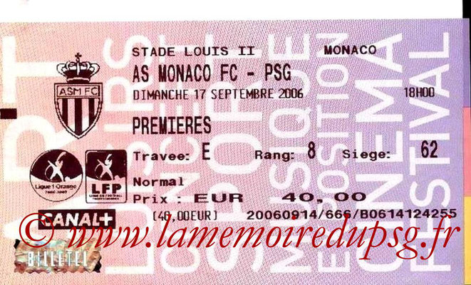 Tickets  Monaco-PSG  2006-07