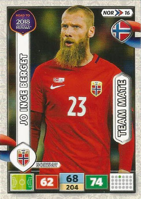 2018 - Panini Road to FIFA World Cup Russia Adrenalyn XL - N° NOR16 - Jo Inge BERGET (Norvège)