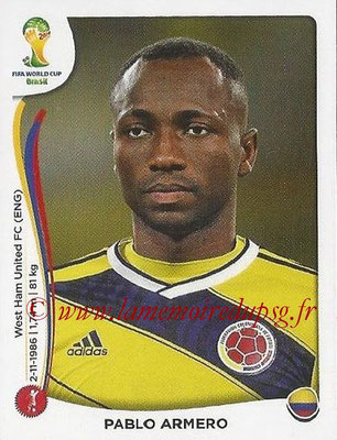2014 - Panini FIFA World Cup Brazil Stickers - N° 190 - Pablo ARMERO (Colombie)