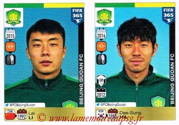 2015-16 - Panini FIFA 365 Stickers - N° 273-274 - Lei LI + Dae-Sung HA (Beijing Guoan FC)