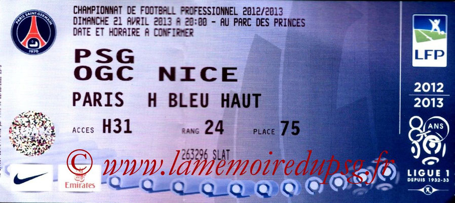 Tickets  PSG-Nice  2012-13