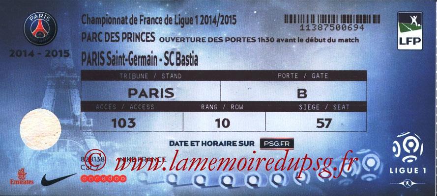 Tickets  PSG-Bastia  2014-15