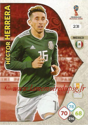2018 - Panini FIFA World Cup Russia Adrenalyn XL - N° 231 - Hector HERRERA (Mexique)