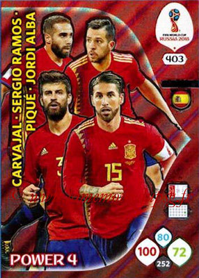 2018 - Panini FIFA World Cup Russia Adrenalyn XL - N° 403 - Daniel CARVAHAL + Sergio RAMOS + Gerard PIQUE + Jordi ALBA (Espagne) (Power 4)