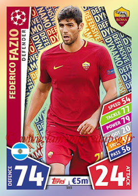 2017-18 - Topps UEFA Champions League Match Attax - N° 383 - Federico FAZIO (AS Roma) (Defensive Dynamo)