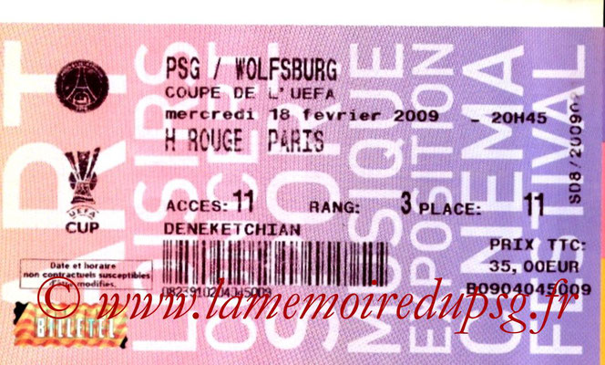 Tickets  PSG-Wolfsburg  2008-09