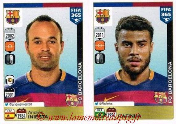 2015-16 - Panini FIFA 365 Stickers - N° 352-356 - Andrés INIESTA + RAFINHA (FC Barcelone)