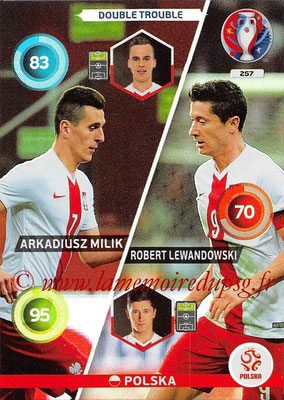 Panini Euro 2016 Cards - N° 257 - Arkadiusz MILIK + Robert LEWANDOWSKI (Pologne) (Double Trouble)
