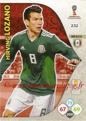 2018 - Panini FIFA World Cup Russia Adrenalyn XL - N° 232 - Hirving LOZANO (Mexique)