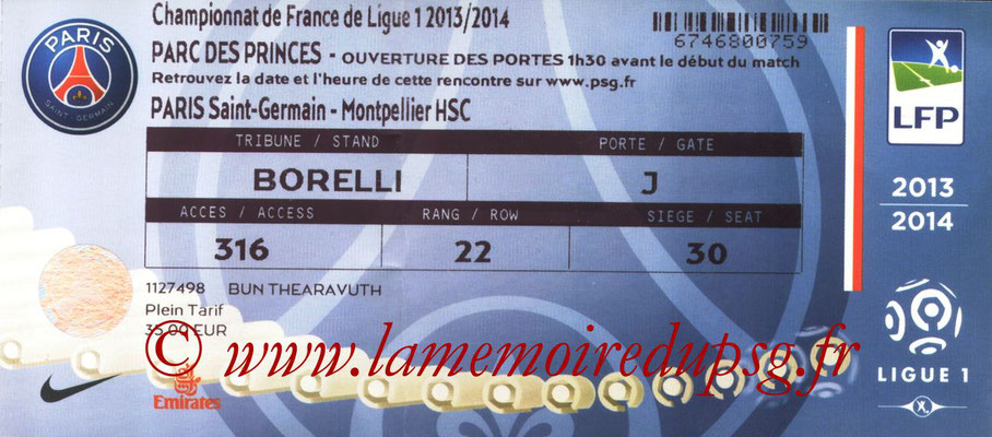 Tickets  PSG-Montpellier  2013-14