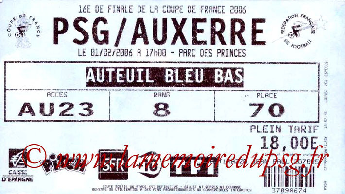 Tickets  PSG-Auxerre  2005-06