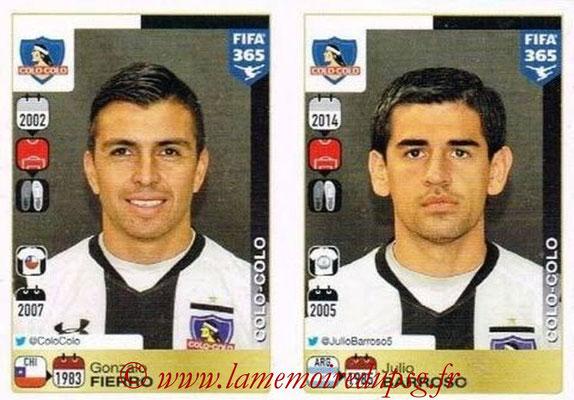 2015-16 - Panini FIFA 365 Stickers - N° 226-227 - Gonzalo FIERRO + Julio BARROSO (Colo Colo)