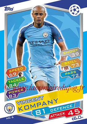 2016-17 - Topps UEFA Champions League Match Attax - N° MC6 - Vincent KOMPANY (Manchester City FC)