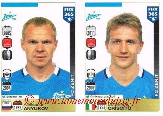 2015-16 - Panini FIFA 365 Stickers - N° 738-739 - Aleksandr ANYUKOV + Domenico CRISCITO (FC Zenit)