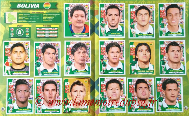 Navarette Copa America Chile 2015 Stickers - Pages 12 et 13 - Bolivie