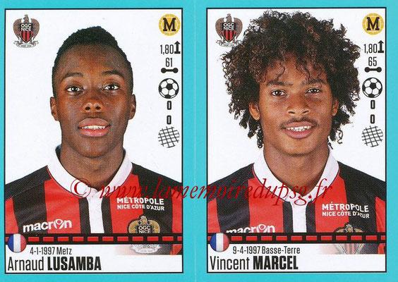 2016-17 - Panini Ligue 1 Stickers - N° 664 + 665 - Arnaud LUSAMBA + Vincent MARCEL (Nice)