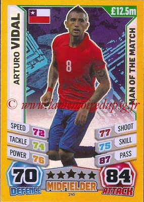 Topps Match Attax England 2014 - N° 245 - Arturo VIDAL (Chili) (Man Of The Match)