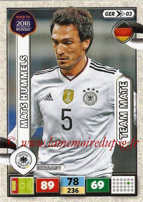 2018 - Panini Road to FIFA World Cup Russia Adrenalyn XL - N° GER03 - Mats HUMMELS (Allemagne)