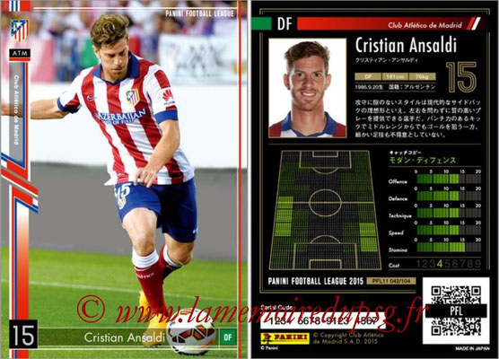 Panini Football League 2015 - PFL11 - N° 042 - Cristian ANSALDI (Atletico Madrid)