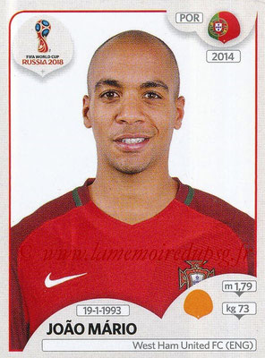 2018 - Panini FIFA World Cup Russia Stickers - N° 122 - Joao MARIO (Portugal)