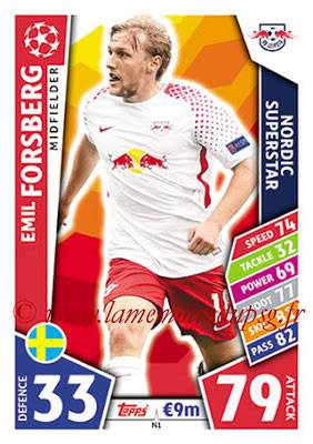 2017-18 - Topps UEFA Champions League Match Attax - N° N01 - Emil FORSBERG (RB Leipzig) (Nordic Superstar)(Nordic Edition)