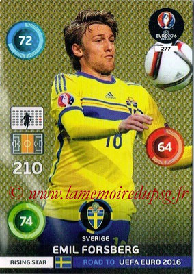 Panini Road to Euro 2016 Cards - N° 277 - Emil FORSBERG (Suède) (Rising Star)