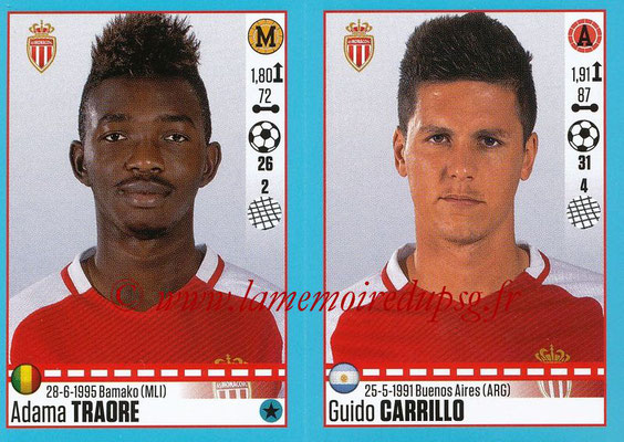 2016-17 - Panini Ligue 1 Stickers - N° 500 + 501 - Adama TRAORE + Guido CARRILLO (Monaco)