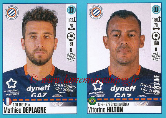 2016-17 - Panini Ligue 1 Stickers - N° 528 + 529 - Mathieu DEPLAGNE + Vitorino HILTON (Montpellier)