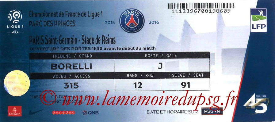Tickets  PSG-Reims  2015-16