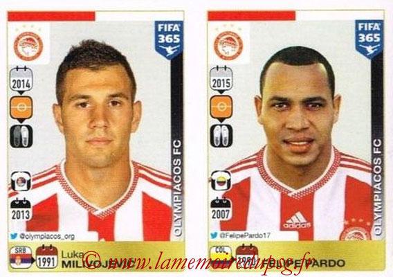 2015-16 - Panini FIFA 365 Stickers - N° 545-546 - Luka MILIVOJEVIC + Felipe PARDO (Olympiacos FC)
