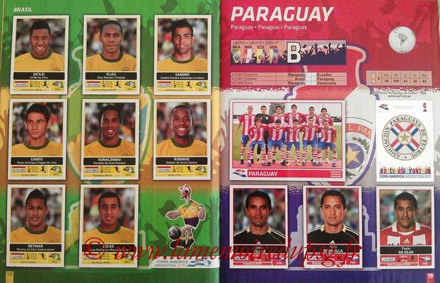 Panini Copa América Argentina 2011 - Pages 18 et 19 - Brésil et Paraguay