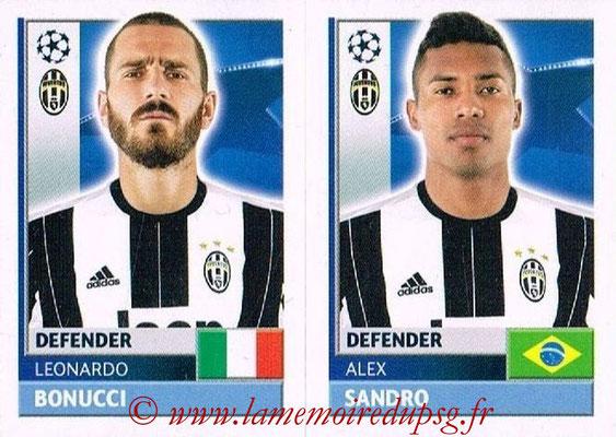 2016-17 - Topps UEFA Champions League Stickers - N° JUV 8-9 - Alex SANDRO + Leonardo BONUCCI (Juventus FC)