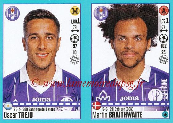 2016-17 - Panini Ligue 1 Stickers - N° 838 + 839 - Oscar TREJO + Martin BRAITHWAITE (Toulouse)