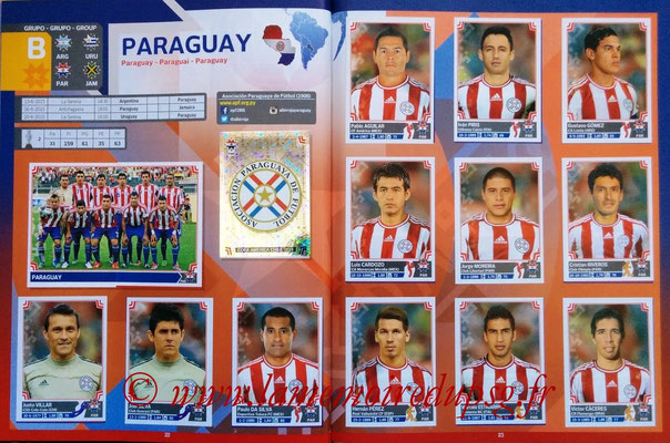 Panini Copa America Chile 2015 Stickers - Pages 22 et 23 - Paraguay