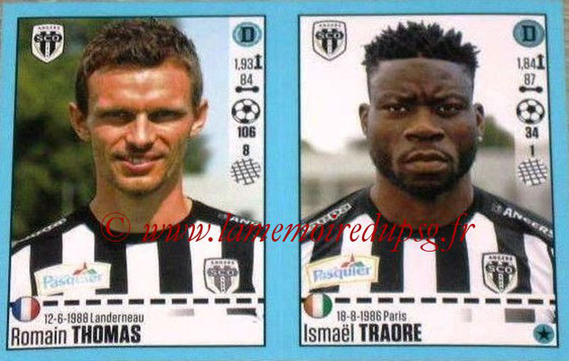 2016-17 - Panini Ligue 1 Stickers - N° 028 + 029 - Romain THOMAS + Ismaël TRAORE (Angers)