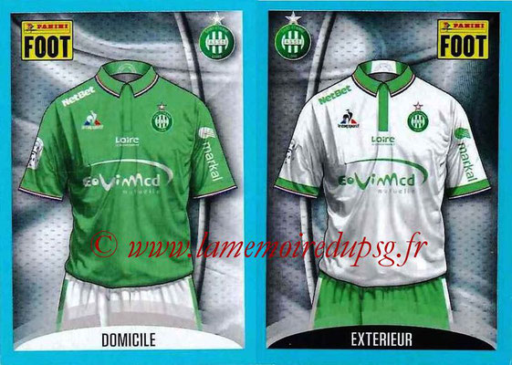 2016-17 - Panini Ligue 1 Stickers - N° 762 + 763 - Maillot Domicile + Extérieur (Saint-Etienne)