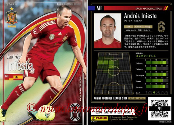 Panini Football League 2014 - PFL08 - N° 115 - Andrés INIESTA (Espagne) (Star +)