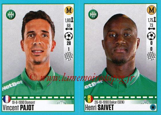 2016-17 - Panini Ligue 1 Stickers - N° 790 + 791 - Vincent PAJOT + Henri SAIVET (Saint-Etienne)
